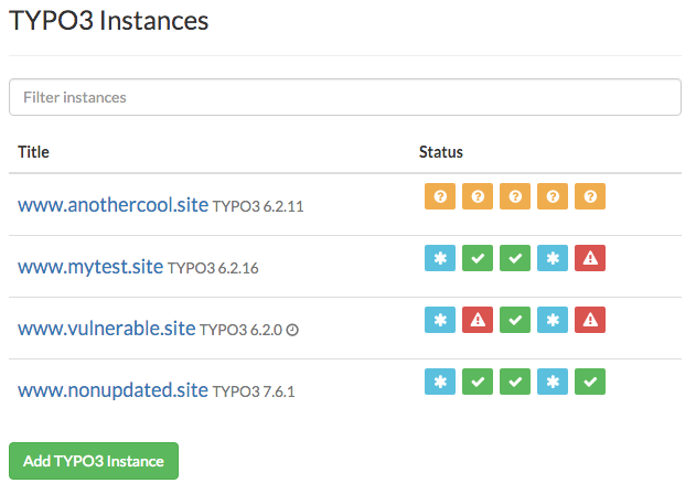 View all your TYPO3 instances in a central overview